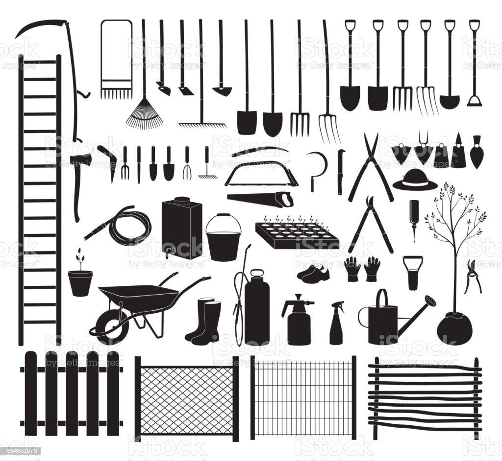 Garden tools icon set vector art illustration