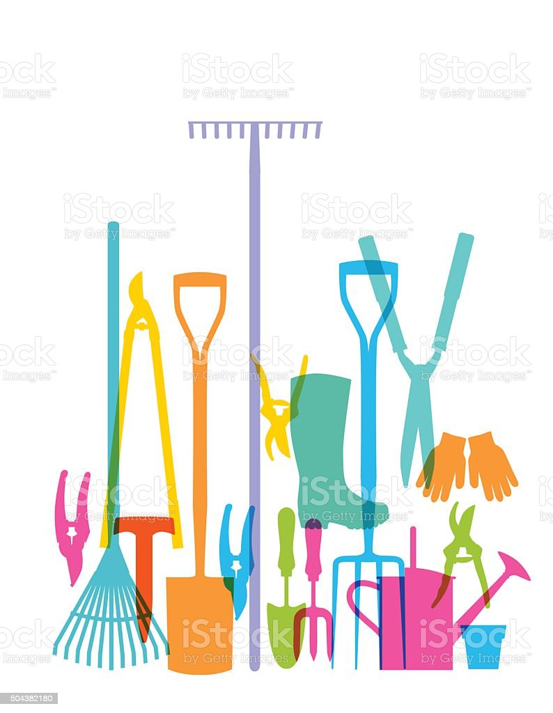 Garden Tools vector art illustration