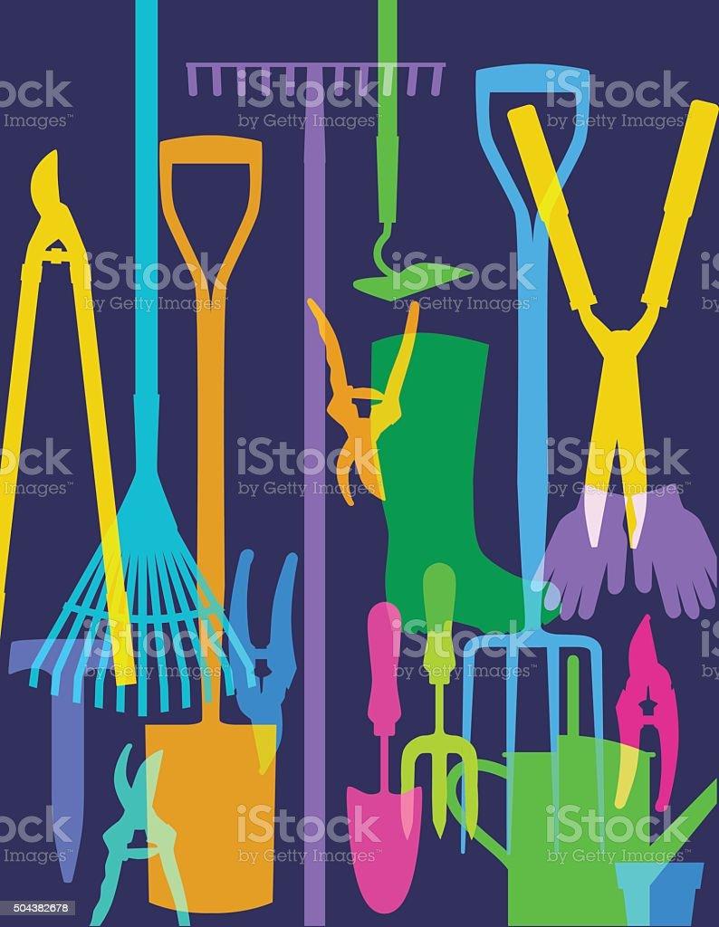 Garden Tools vector art illustration