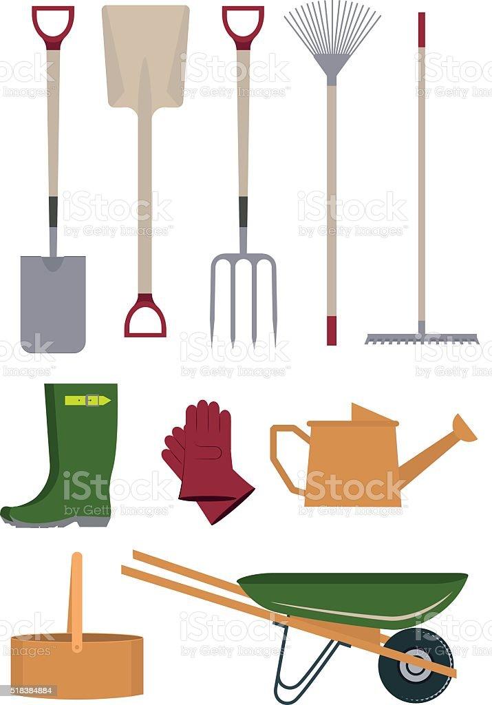Garden tools. vector art illustration