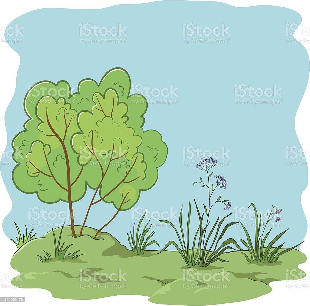 Garden with a bush royalty-free stock vector art