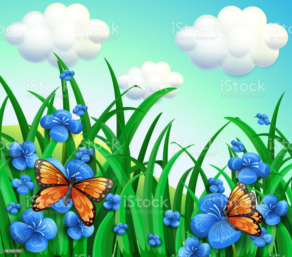 garden with fresh violet flowers royalty-free stock vector art
