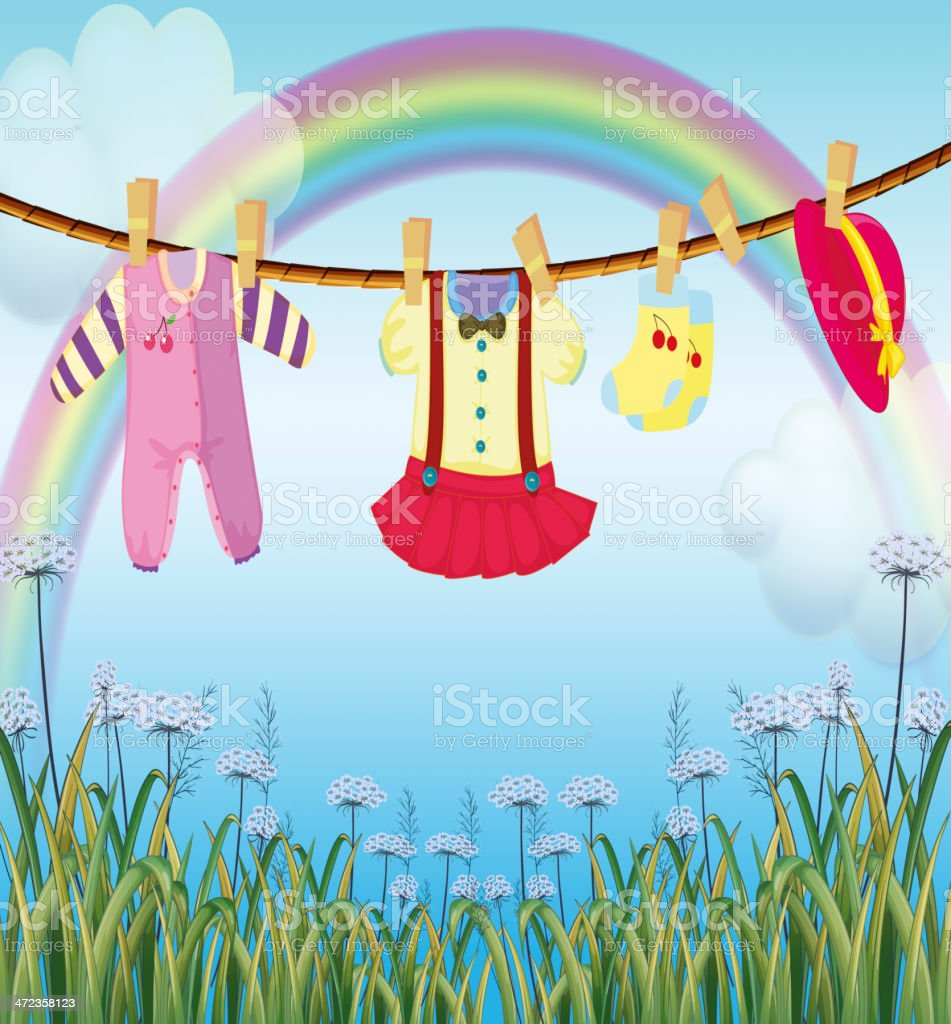 Garden with hanging baby clothes royalty-free stock vector art