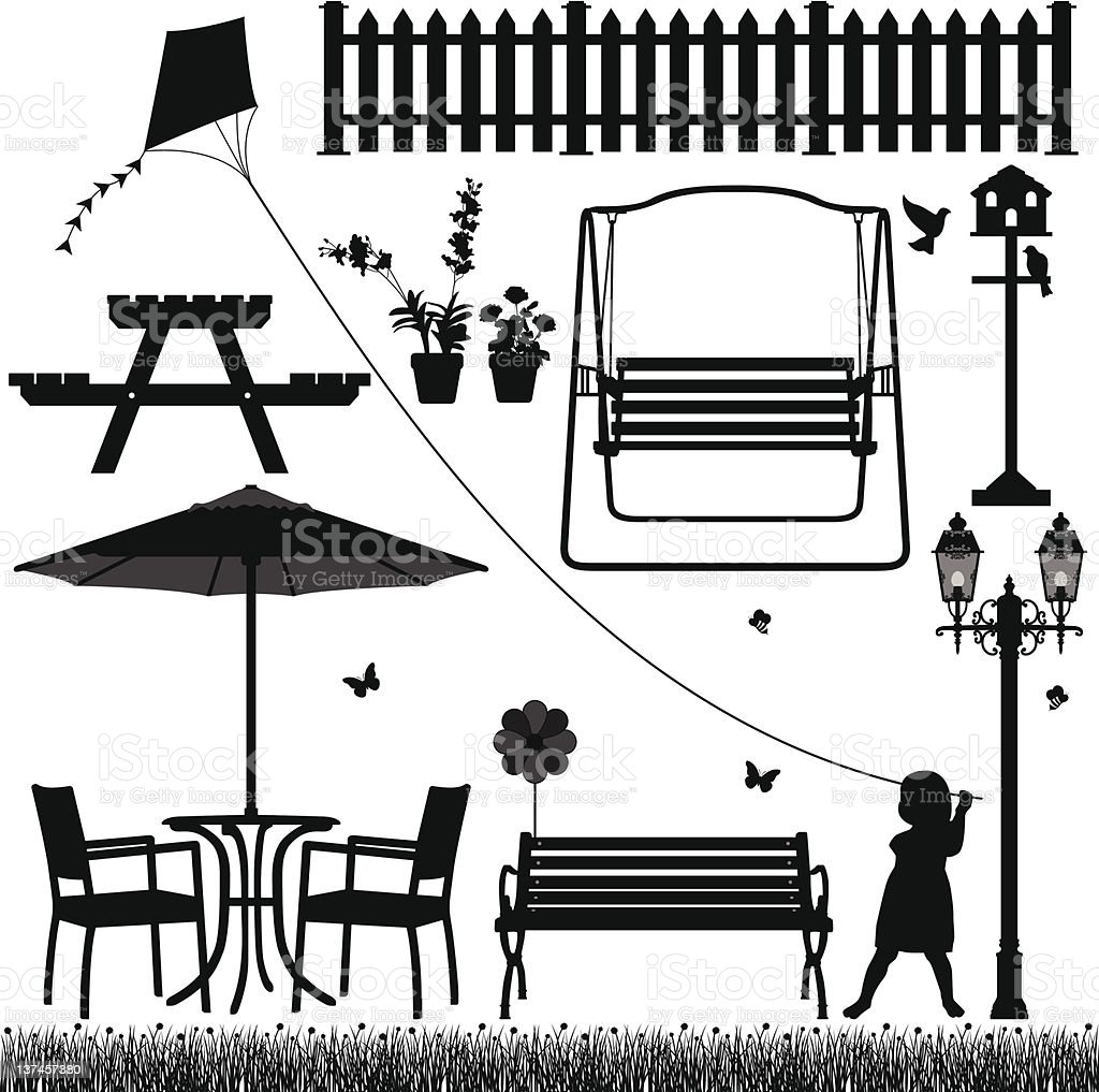 Garden Yard Field Park Outdoor Scenario royalty-free stock vector art