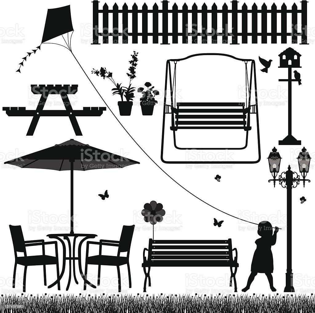 Garden Yard Field Park Outdoor Scenario vector art illustration