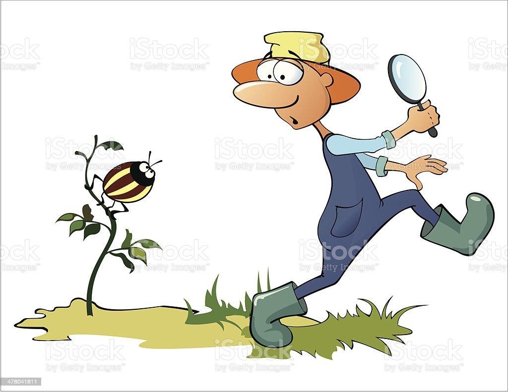 Gardener and beetle vector art illustration