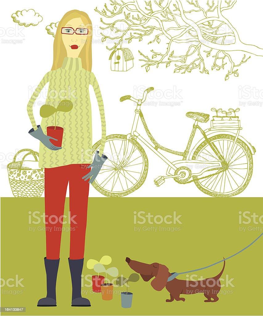 Gardener and dog in spring garden royalty-free stock vector art