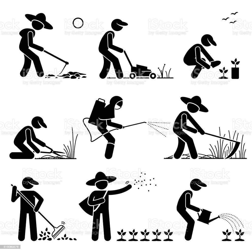 Gardener and Farmer using Gardening Tools and Equipment vector art illustration
