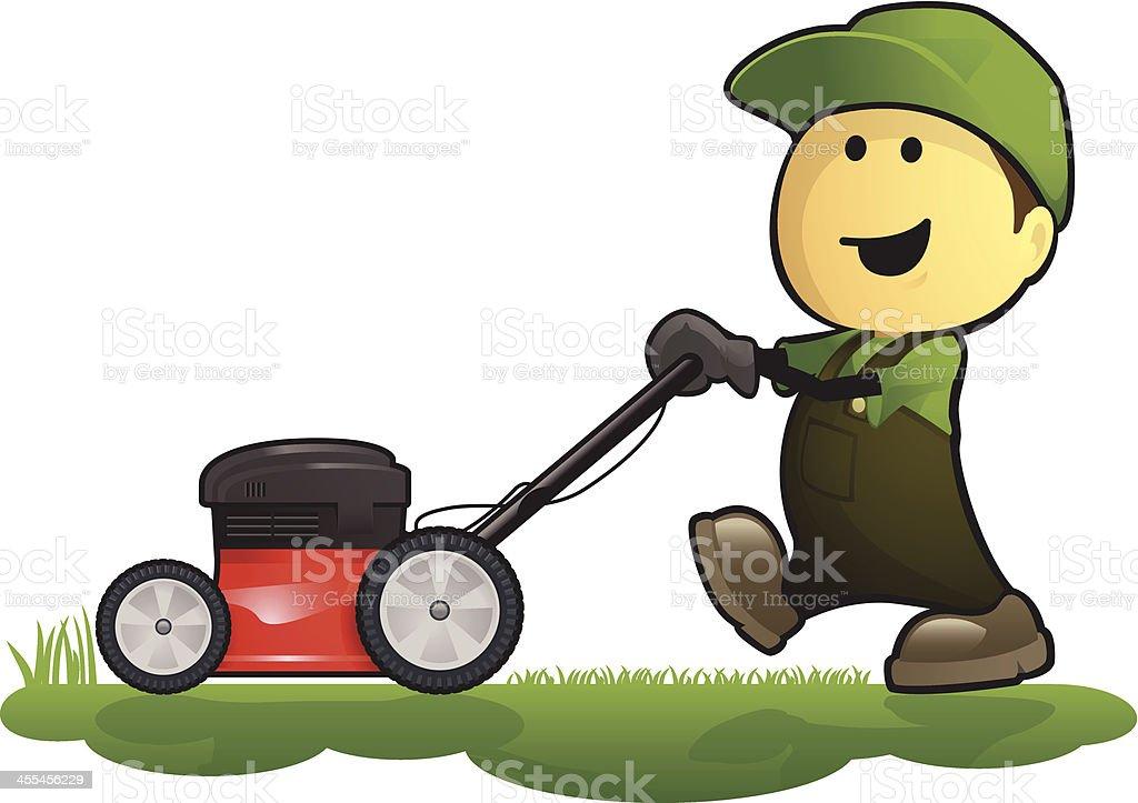Gardener and Lawn Mower royalty-free stock vector art