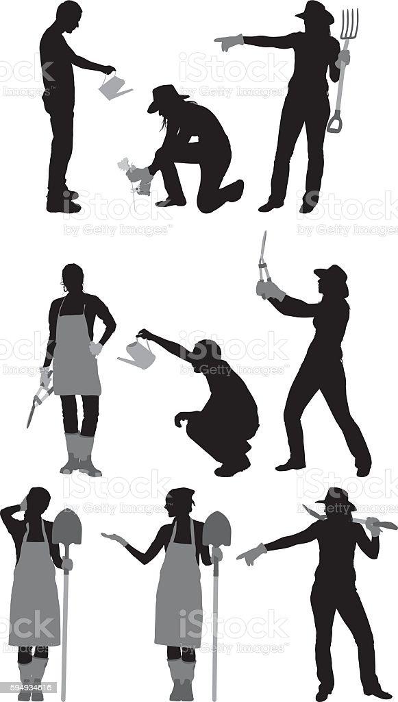 Gardener in various actions vector art illustration