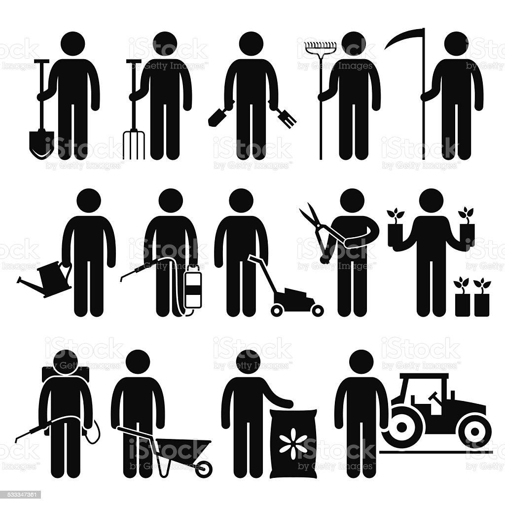 Gardener Man Worker using Gardening Tools and Equipments Pictogram vector art illustration