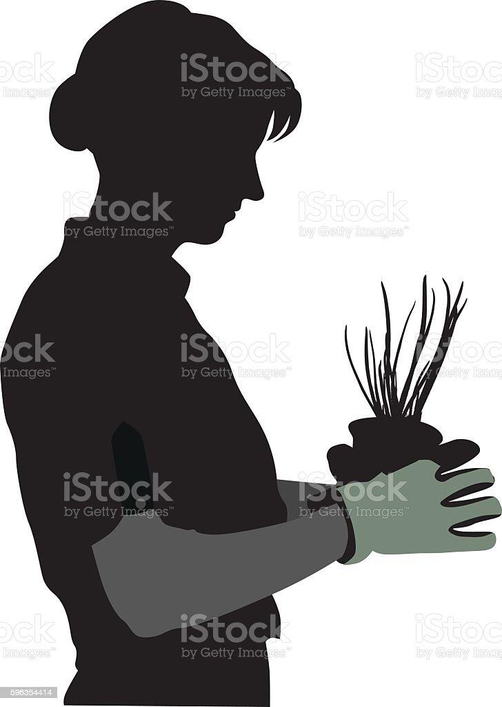 Gardener Portrait With Fresh Green Onion vector art illustration