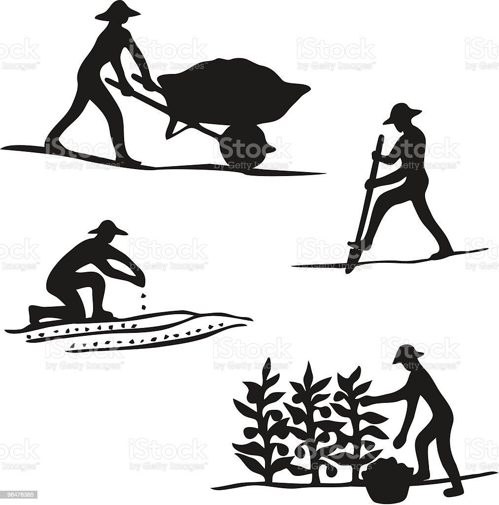 Gardener Silhouettes vector art illustration