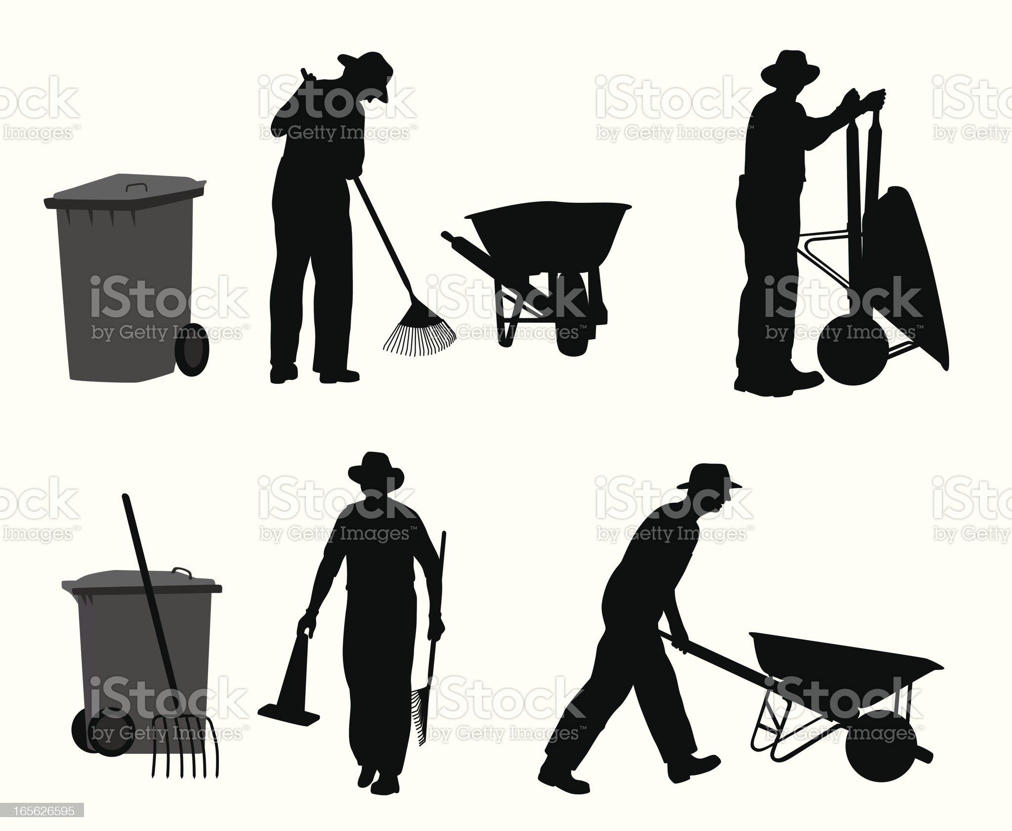 Gardener Vector Silhouette royalty-free stock vector art