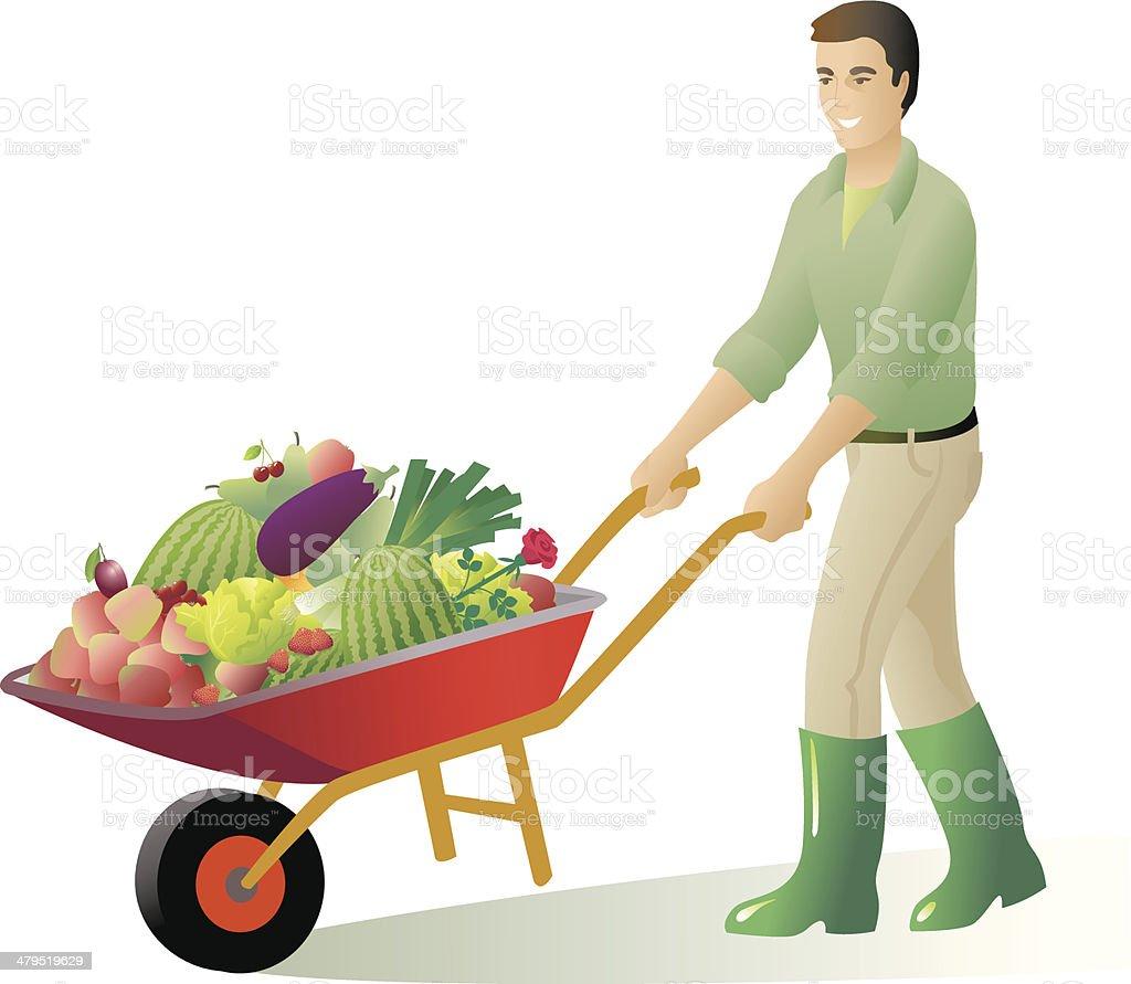 Gardener with wheelbarrow royalty-free stock vector art