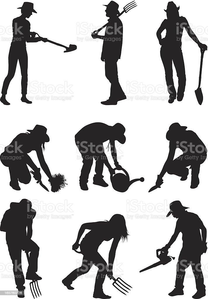 Gardeners doing some gardening vector art illustration