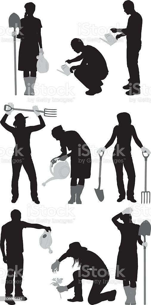 Gardeners in various actions vector art illustration