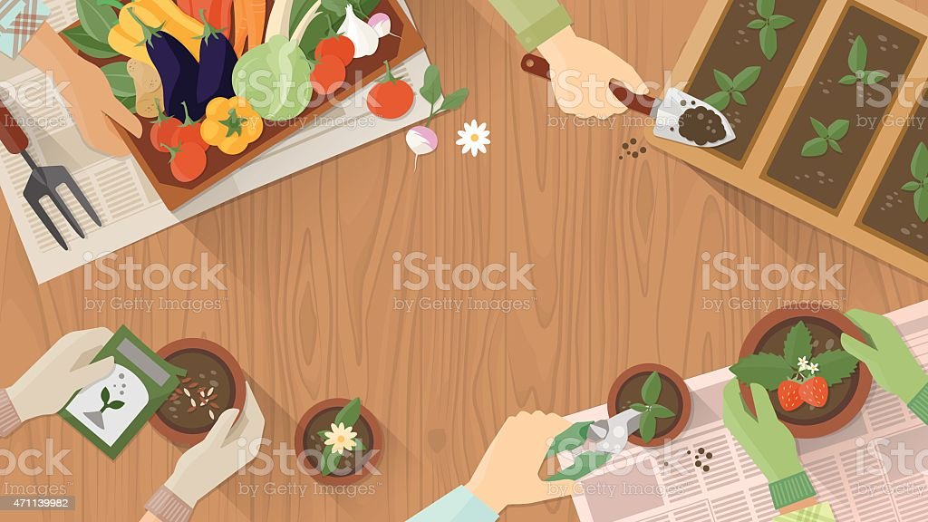 Gardeners working together vector art illustration