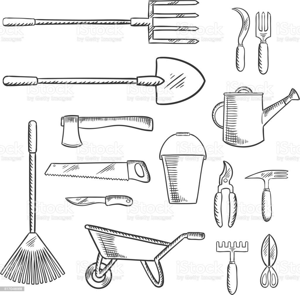 Gardening and agricultural tools icons vector art illustration