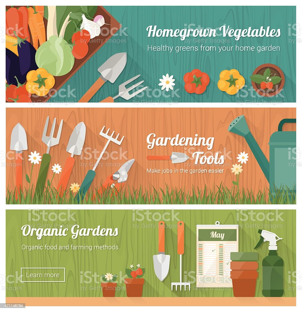 Gardening and diy banner set vector art illustration