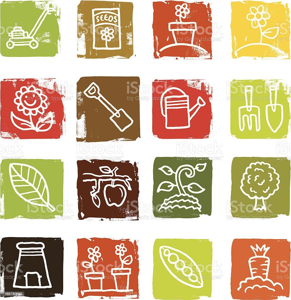 Gardening and garden icon grunge block set royalty-free stock vector art