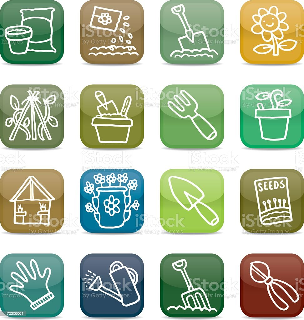 Gardening app style icon set royalty-free stock vector art