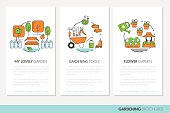 Gardening Business Brochures Template in Thin Line Style