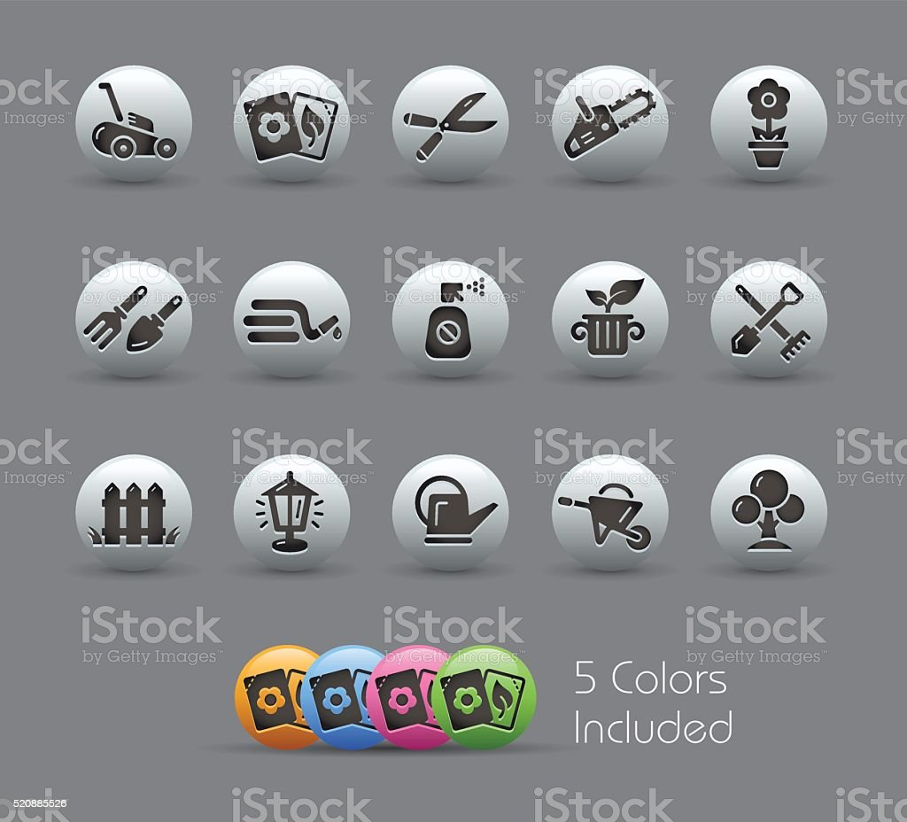 Gardening Buttons - Pearly Series vector art illustration