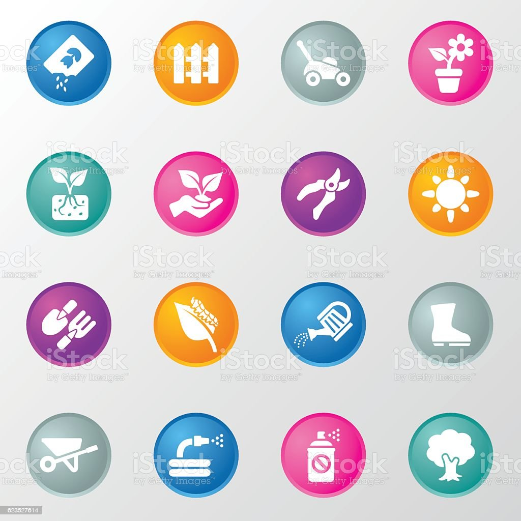 Gardening Circle Color Icons vector art illustration
