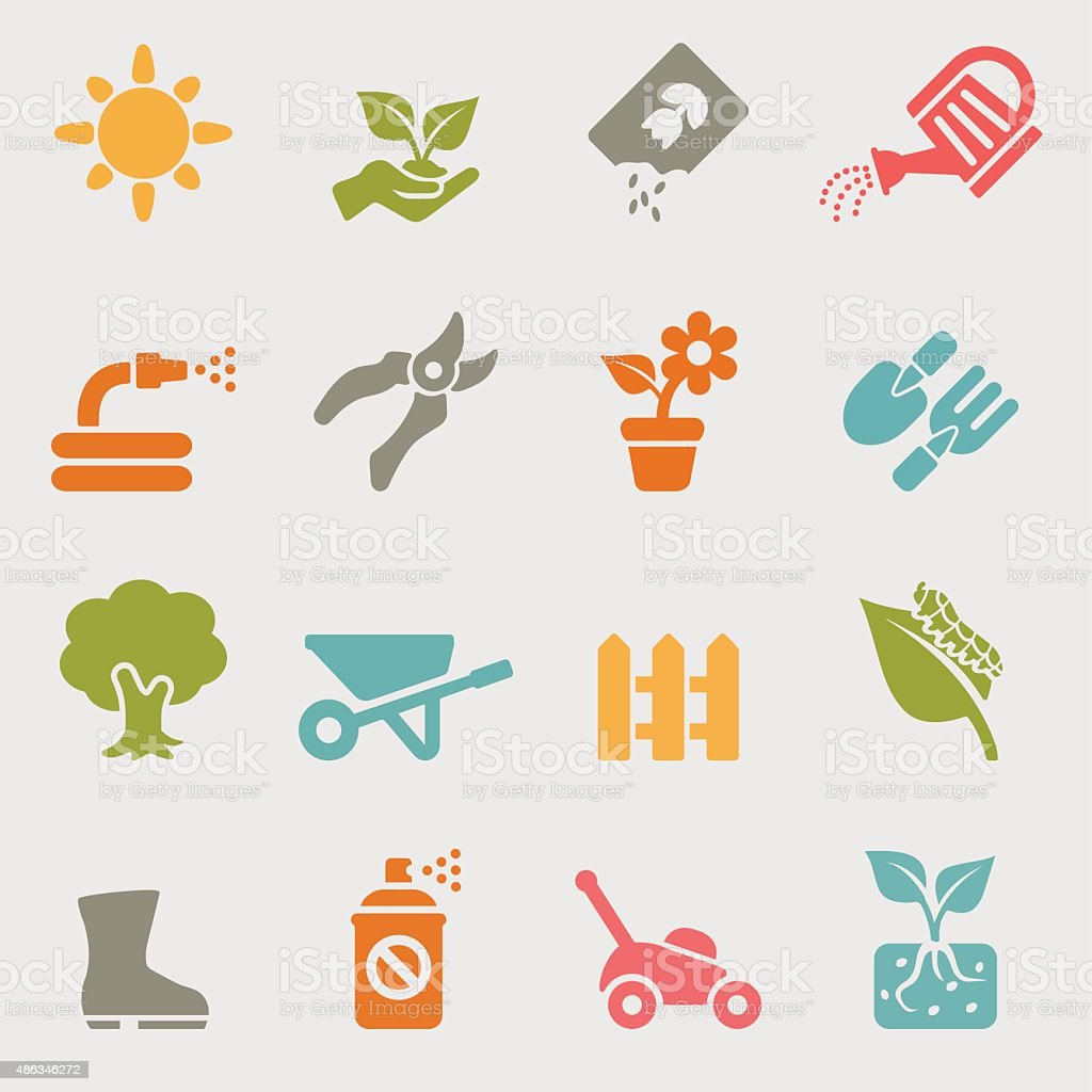 Gardening color variation icons | EPS10 vector art illustration