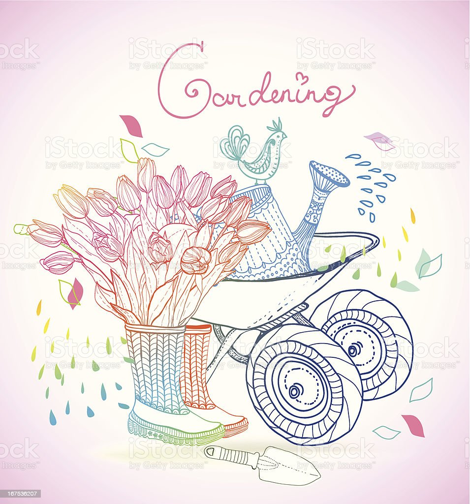Gardening colorful hand drawn illustration royalty-free stock vector art