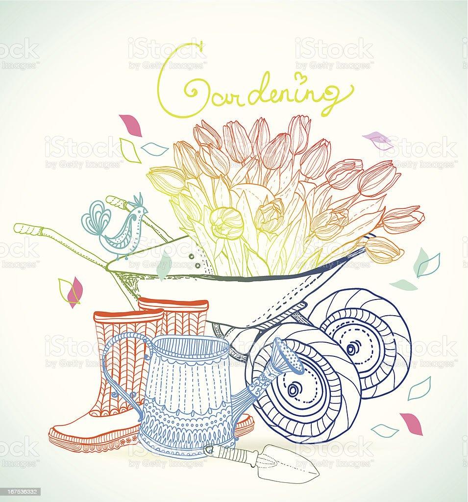 Gardening colorful hand drawn illustration royalty-free stock vector art