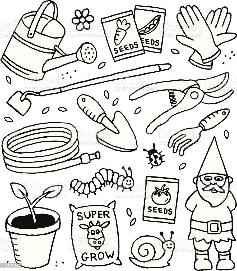 Gardening Doodles royalty-free stock vector art