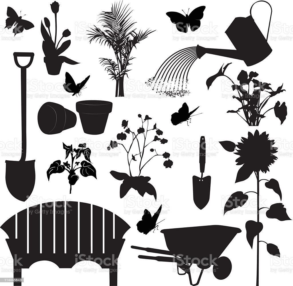 Gardening Elements Silhouettes including tools,plants, bench and wheelbarrow royalty-free stock vector art