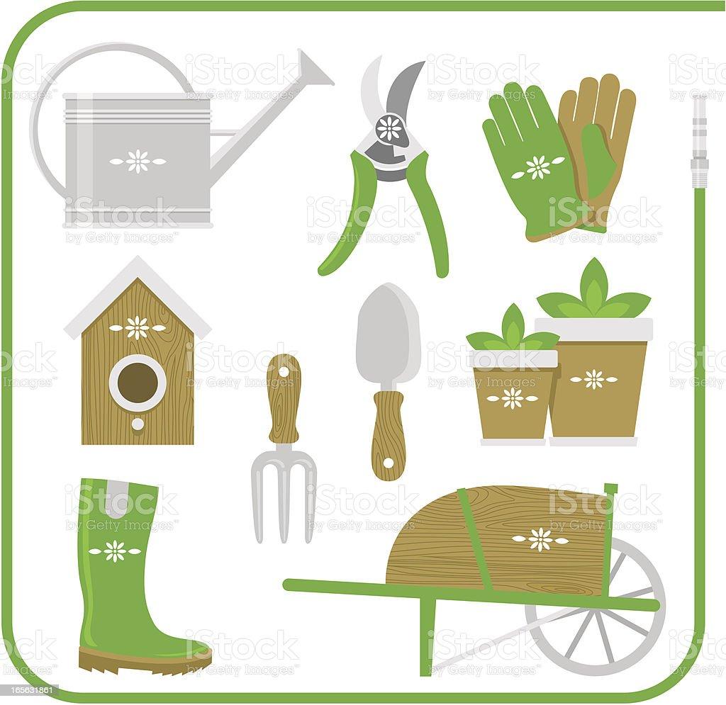 Gardening Equipment set work tool vector illustration vector art illustration
