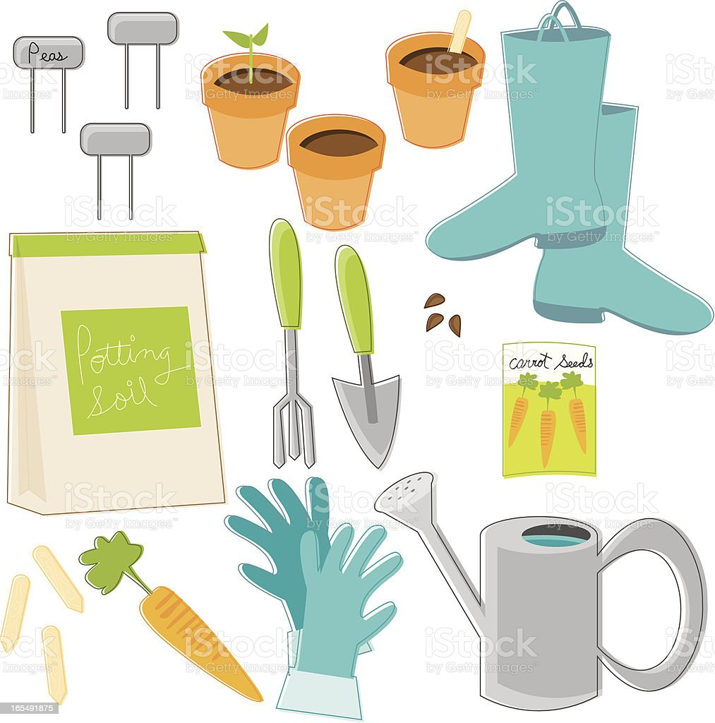 Gardening Essentials royalty-free stock vector art