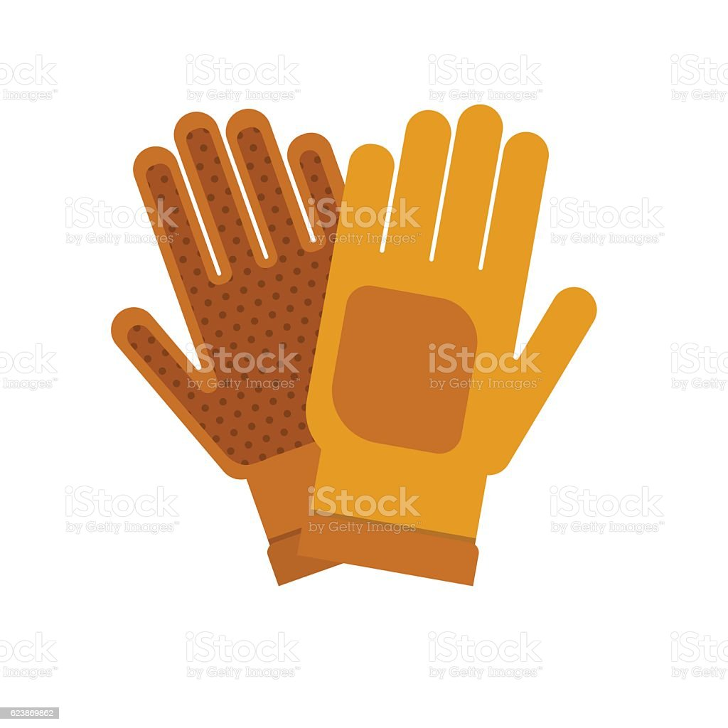Gardening flat yellow gloves for work isolated on white background vector art illustration