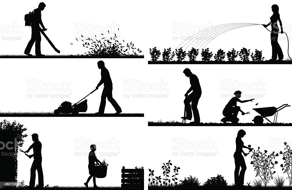 Gardening foreground silhouettes vector art illustration