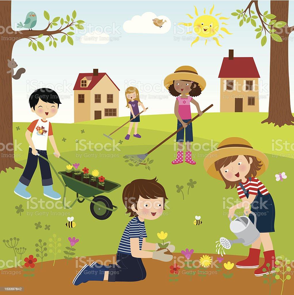 Gardening Fun vector art illustration