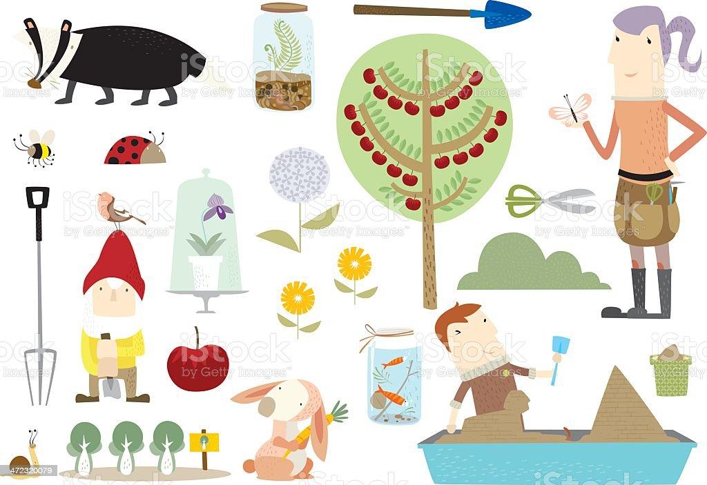 Gardening fun! vector art illustration