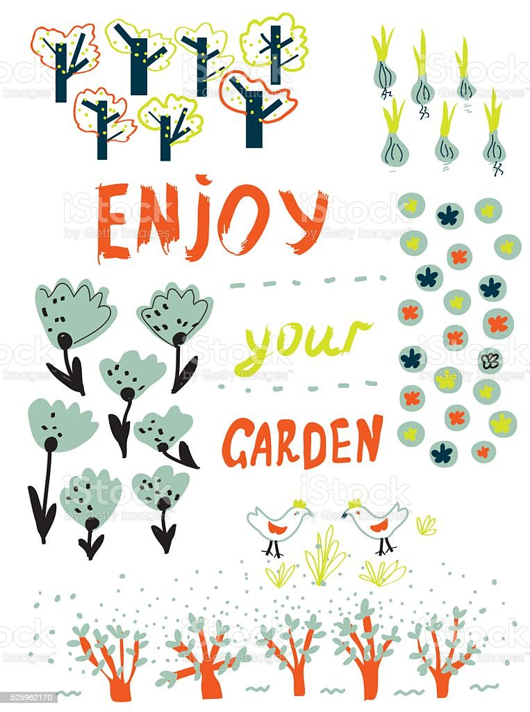 Gardening funny card with trees, flowers, birds and garden planning vector art illustration