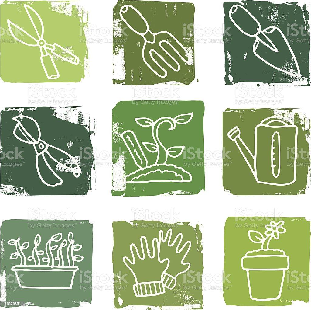Gardening grunge block icon set royalty-free stock vector art