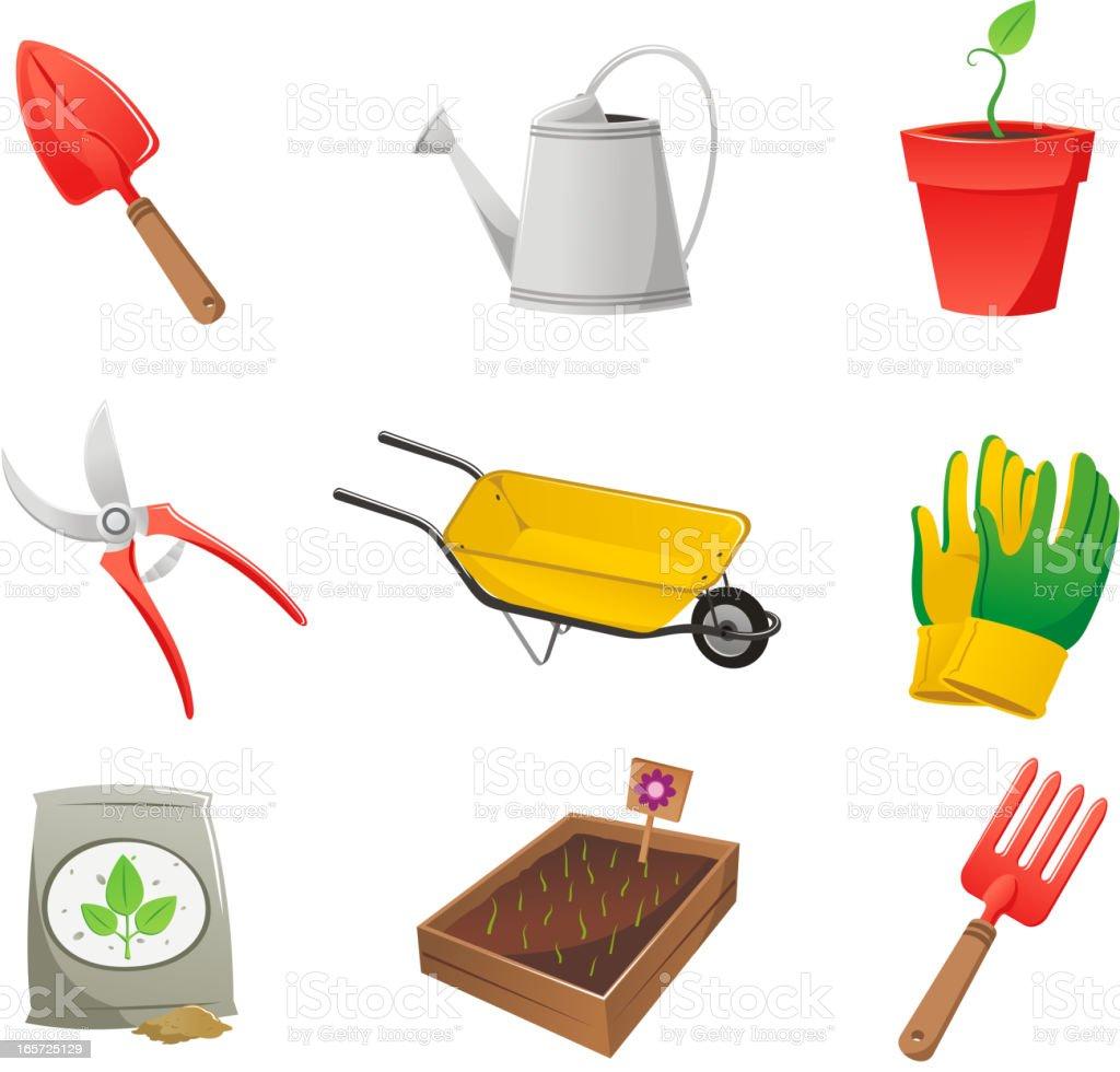 Gardening icon set shovel watering can wheelbarrow gloves soil rake royalty-free stock vector art