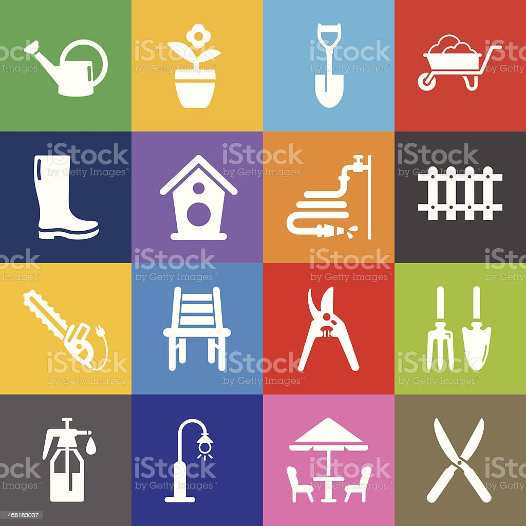 Gardening Icons and Color Background vector art illustration