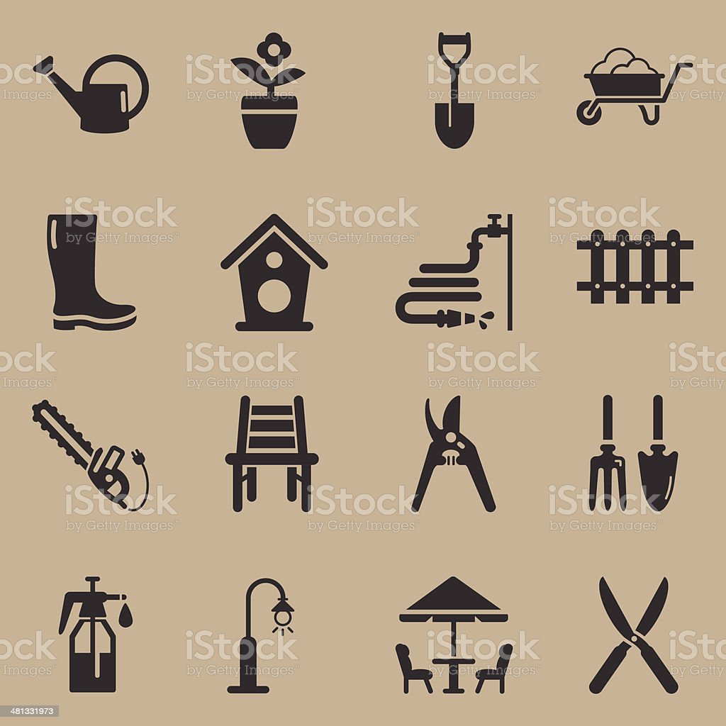 Gardening Icons - Background vector art illustration