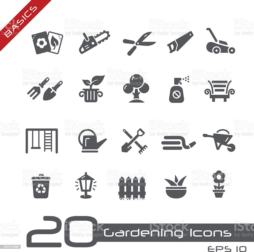 Gardening Icons - Basics vector art illustration