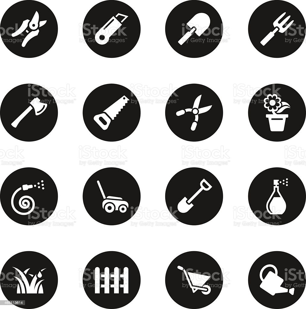 Gardening Icons - Black Circle Series vector art illustration