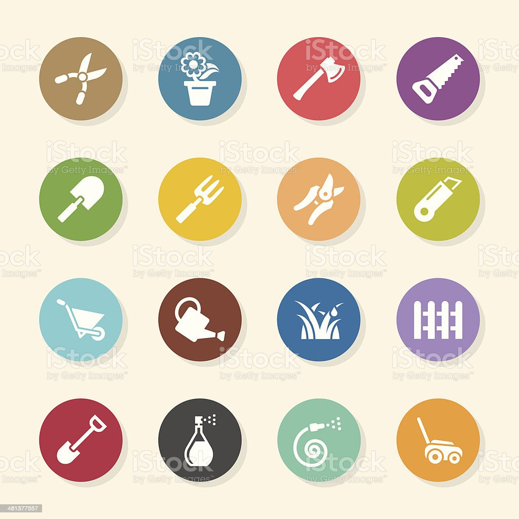 Gardening Icons - Color Circle Series vector art illustration
