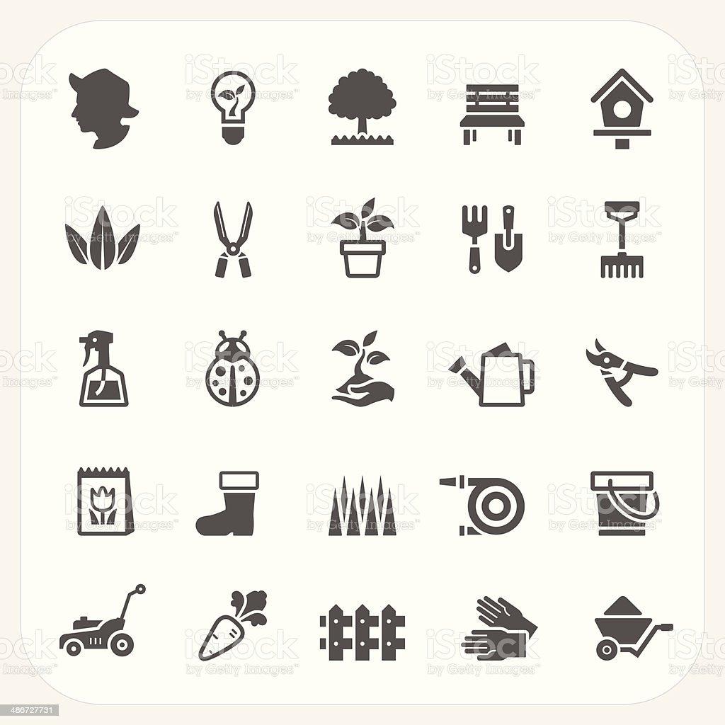 Gardening icons set vector art illustration