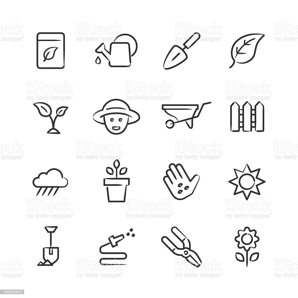 Gardening Icons — Sketchy Series vector art illustration